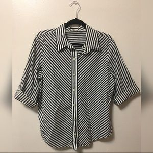 Vintage Striped 3/4 Sleeve Button Up Top